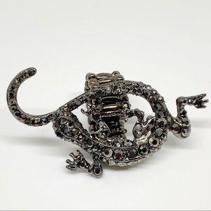 Rhinestone Studded Lizard Statement Ring